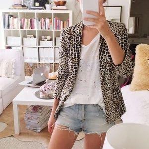 Zara Basic Leopard Print Blazer